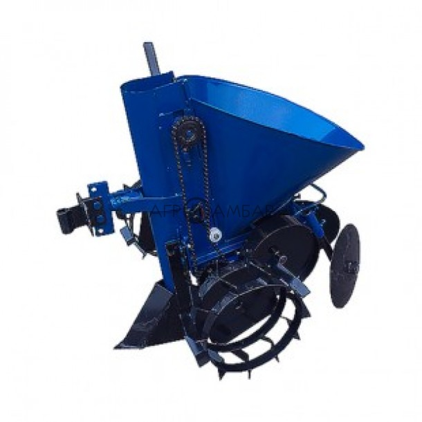 Картофелесажатель мотоблочный  К-1ЦУ (синий) (бункер для внесения Удобрений) (Кентавр)