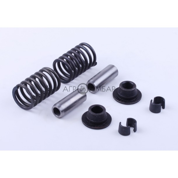 Клапанный механизм комплект (пружины, тарелки, сухари, направляющие) на 2 кл. (R195)
